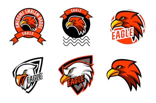 Установить шаблон eagle head Premium векторы