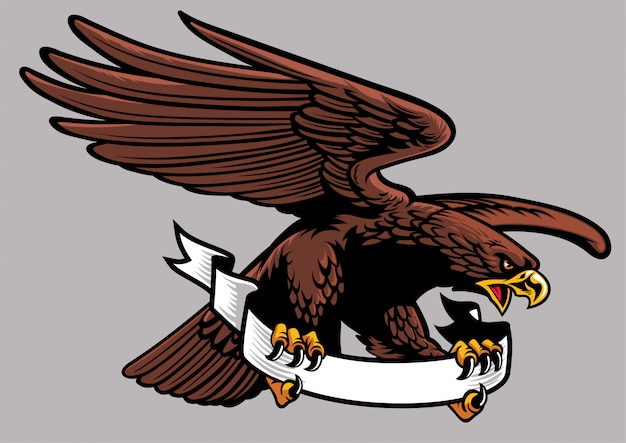 Eagle hold the ribbon Premium Vector