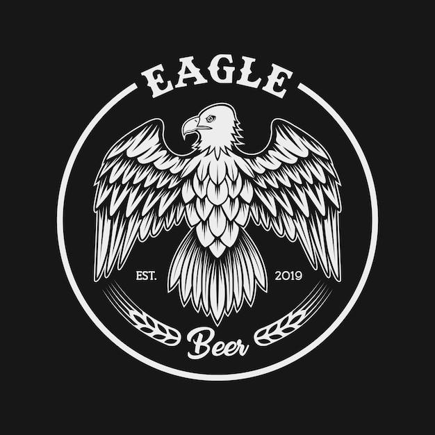 Eagle hop fruit combine illustration Premium Vector