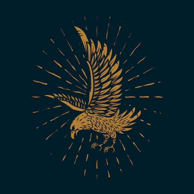 Eagle illustration in golden style on dark background.  element for poster, card, sign, print.  image Premium Vector