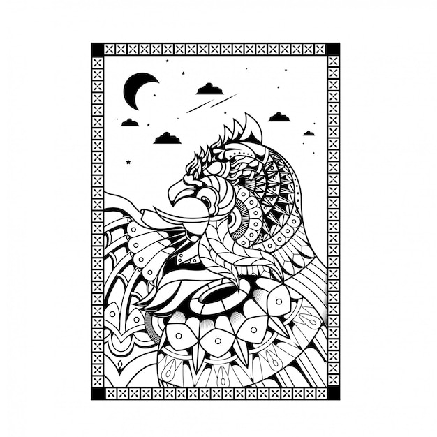 Eagle illustration, mandala zentangle and tshirt design Premium Vector