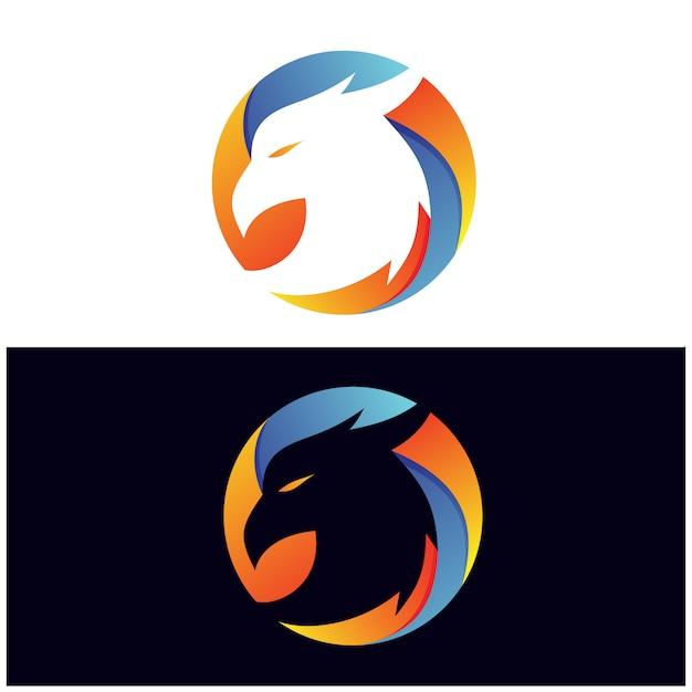 Eagle in circleロゴ Premiumベクター