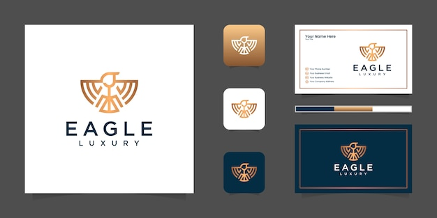 Eagle line logo luxury and business card Premium Vector