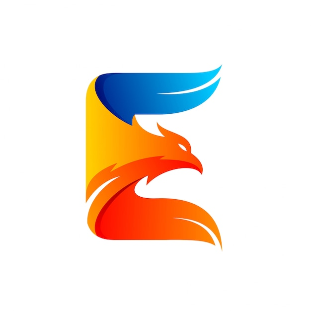 Eagle logo formed letter e Premium Vector