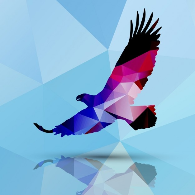 Eagle made of polygons background Free Vector