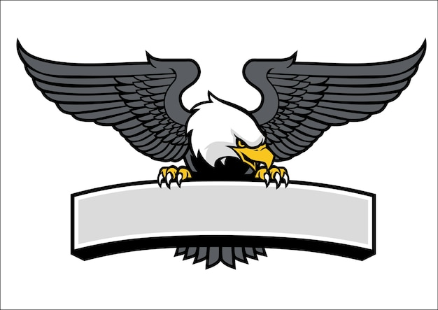 Eagle mascot griping the sign Premium Vector