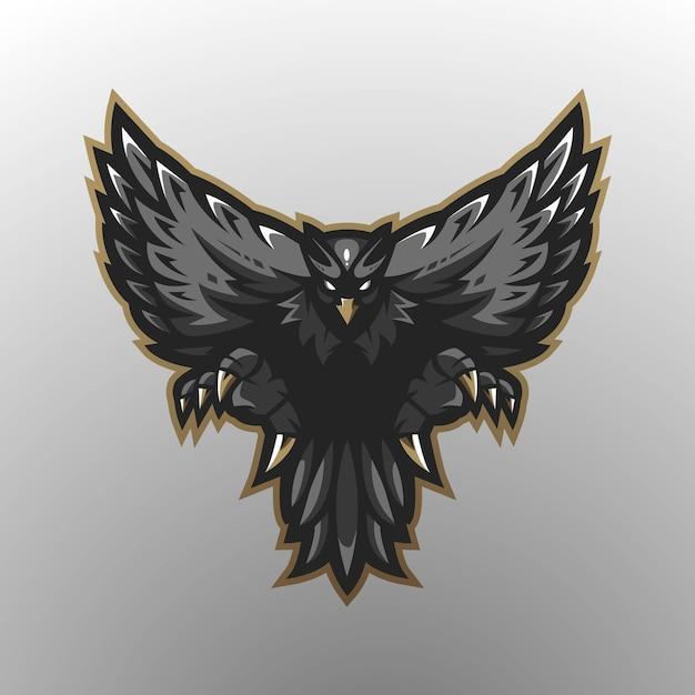 Eagle mascot logo design with modern illustration concept style for badge, emblem and t-shirt printing. black eagle for gaming Premium Vector