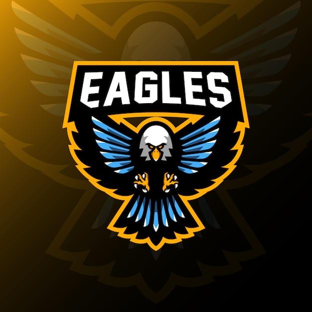 Eagle mascot logo gaming esport illustration Premium Vector