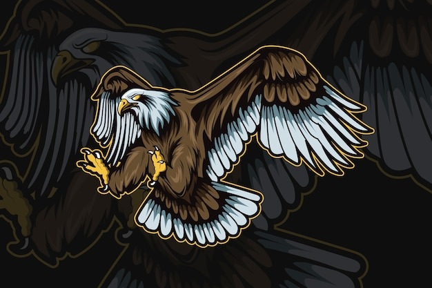 Eagle mascot for sports and esports logo isolated Premium Vector