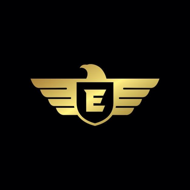 Eagle shield logo template Premium Vector