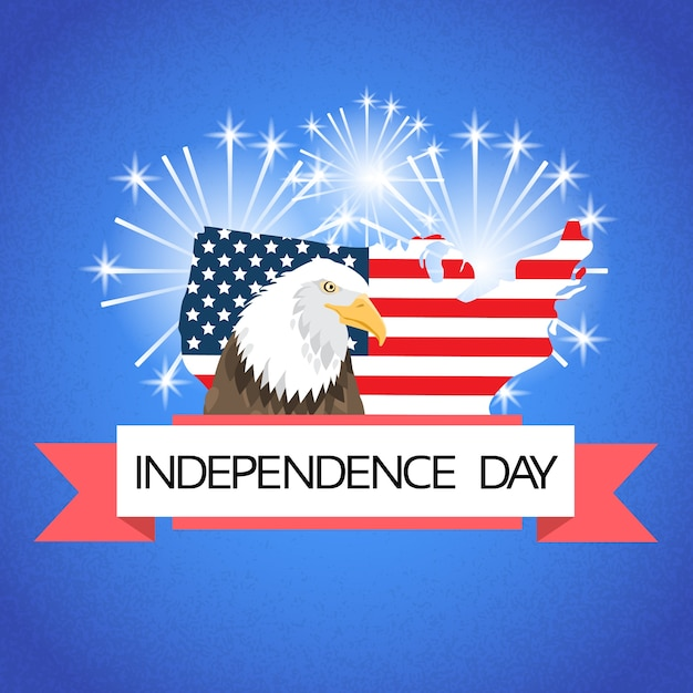 Eagle over united states of america map flag Premium Vector