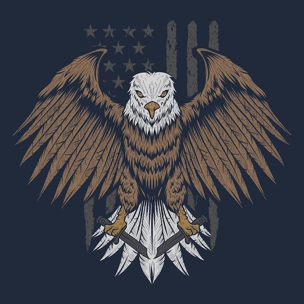 Eagle usa flag Premium Vector