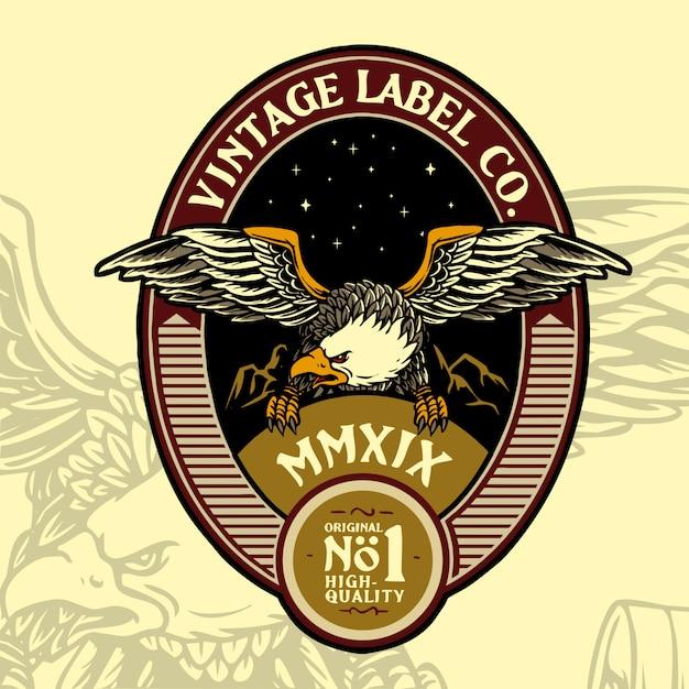 Eagle vintage badge design Premium Vector