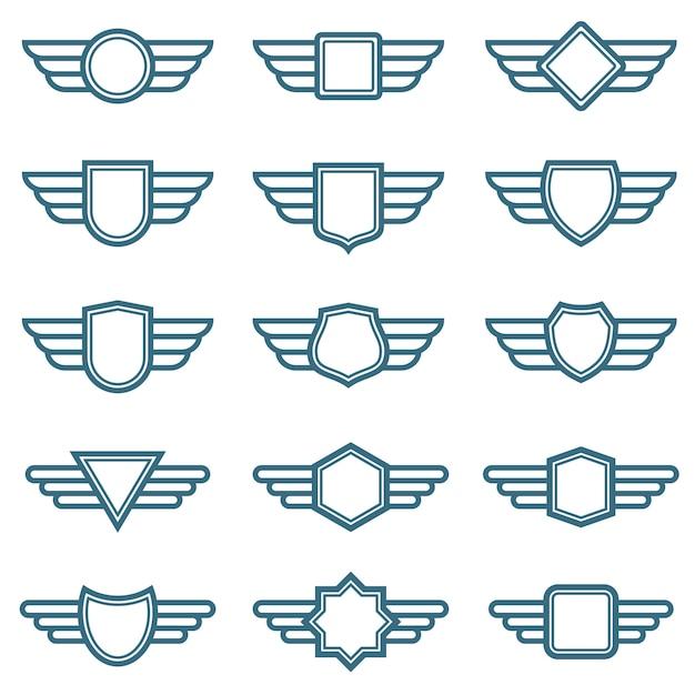 Крылья орла армейские векторные значки. ярлыки авиационного крыла. крылатые пилотные эмблемы Premium векторы