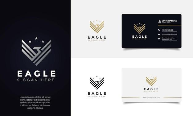 독수리 날개 우아한 럭셔리 황금 색상 로고 디자인 및 명함 프리미엄 벡터