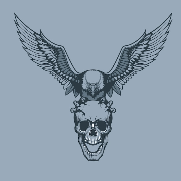 Eagle with a skull in claws Premium Vector