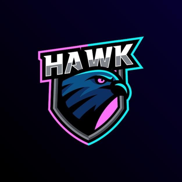 Eagle талисман логотип киберспорт игры Premium векторы