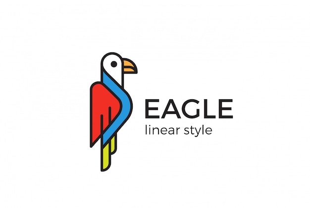 Eaglelogo     linear style Free Vector