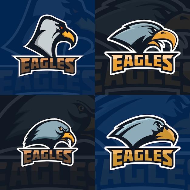 Орлы. набор эмблема шаблона с головой орла. спортивная команда талисман. иллюстрация Premium векторы