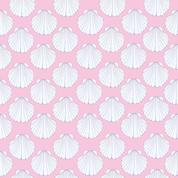 Eamless pattern of seashells, marine . Premium Vector