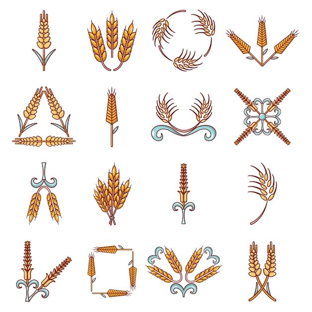 Ear corn icons set Premium Vector