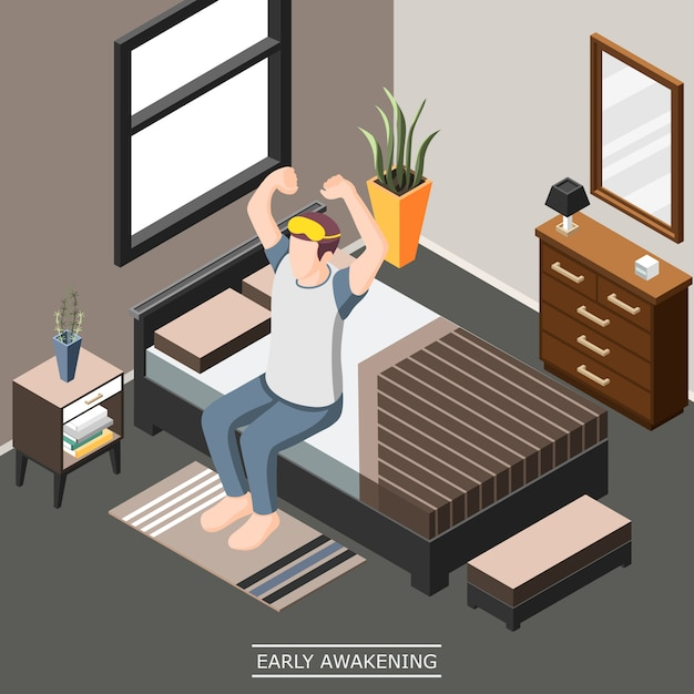 Early awakening isometric composition Free Vector