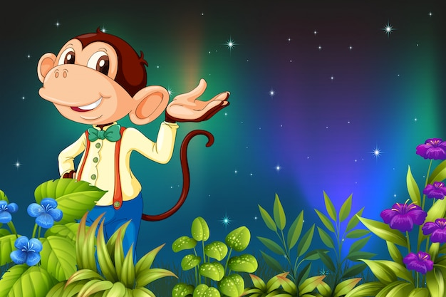 An early morning view with a male monkey Premium Vector