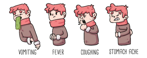 Early signs of coronavirus vomiting, fever, coughing and stomach ache of boy drawing Premium Vector