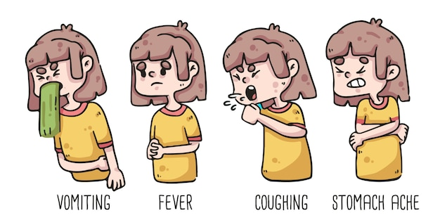 Early signs of coronavirus vomiting, fever, coughing and stomach ache of girl drawing Premium Vector