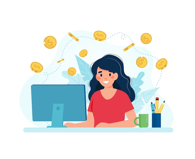 Earn money online, woman with a computer and coins. Premium Vector