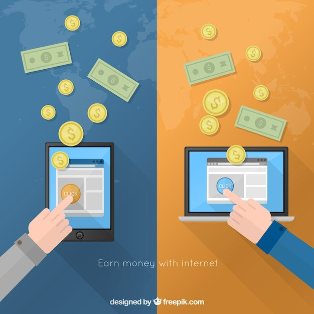Earn money with internet Free Vector