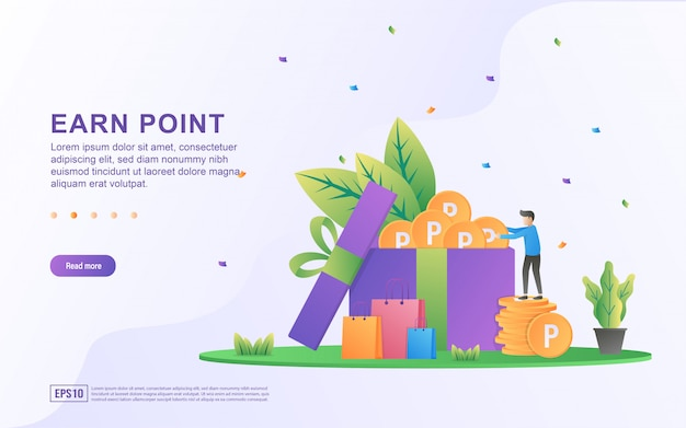 Earn point illustration concept. loyalty program and get rewards, customer reward loyalty program, earn bonuses, gift cards. Premium Vector
