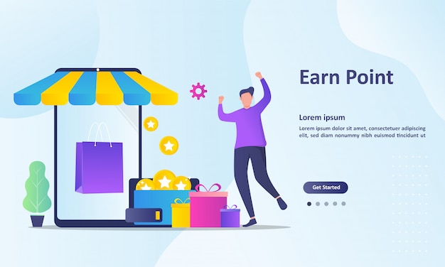 Earn point landing page template Premium Vector