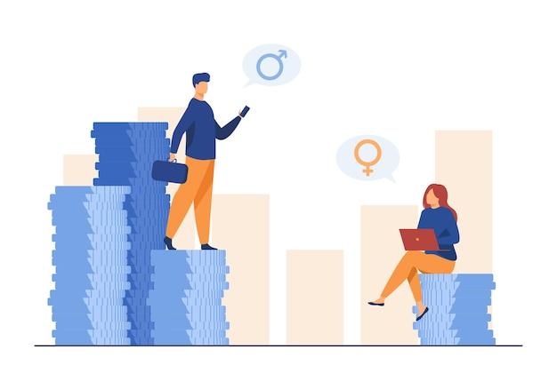 Guadagni discriminazione di genere. uomo e donna che ottengono uno stipendio diverso. illustrazione del fumetto Vettore gratuito