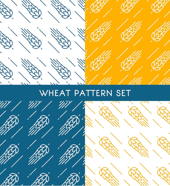 Ears of wheat seamless patterns set of different colors in hand drawn style Free Vector