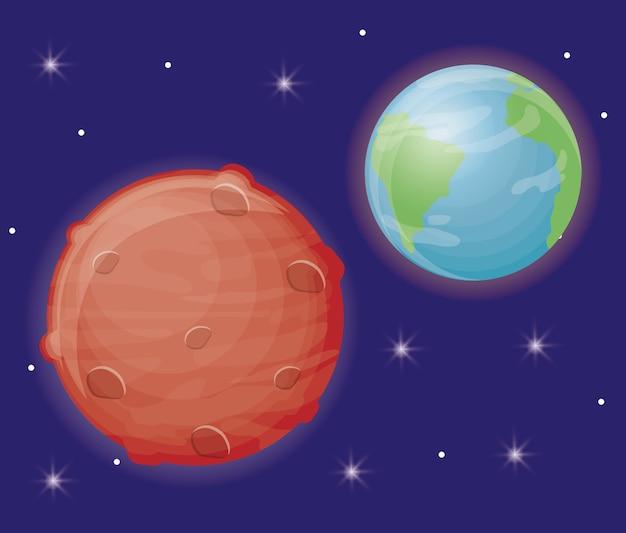 地球と火星の惑星のアイコン Premiumベクター