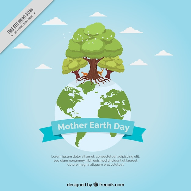 Earth background with trees Free Vector