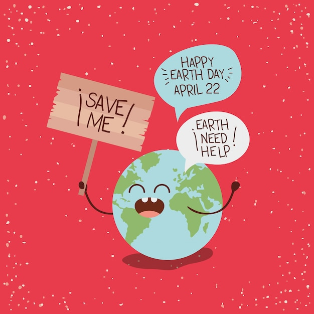Earth character with speech bubbles and wooden label Premium Vector