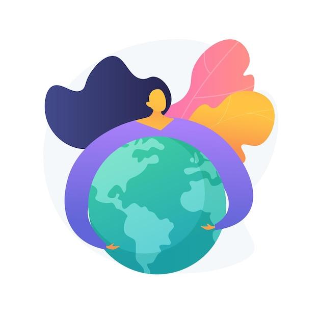 Иллюстрация абстрактной концепции дня земли. празднование всемирного дня земли, экологическая активность, спасти планету, изменение климата, международное экологическое мероприятие, мать-природа Бесплатные векторы