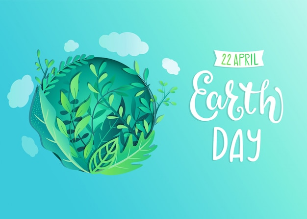 Earth day banner for environment safety celebration Premium Vector