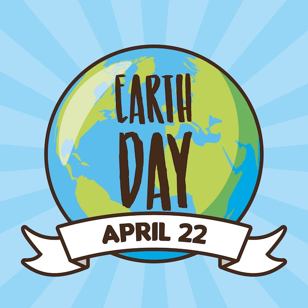 Earth day card earth in a blue illustration Free Vector