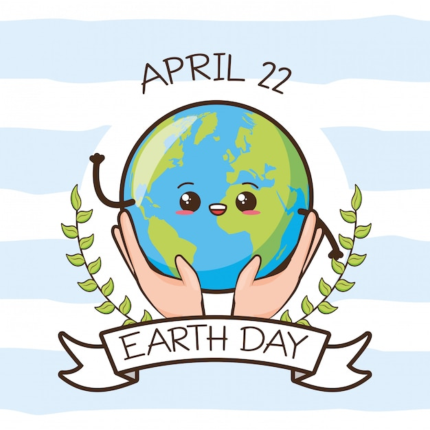 地球の日カード、手、イラストで開催されている顔を持つ地球 無料ベクター