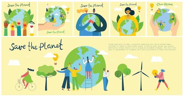 Earth day concept. human hands holding floating globe in space. save our planet. Premium Vector