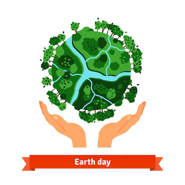 Earth day concept. Human hands holding globe Free Vector