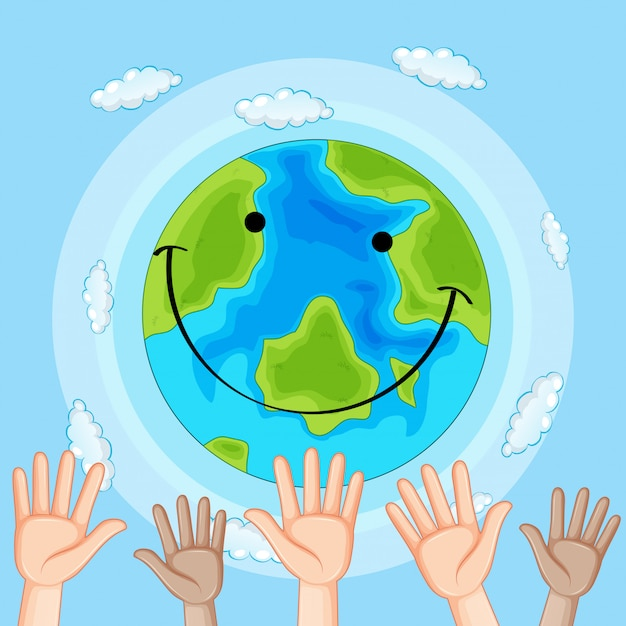 Earth day hand concept Free Vector