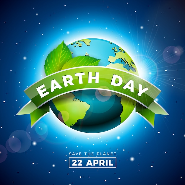 Earth day illustration with planet and green leaf Premium Vector