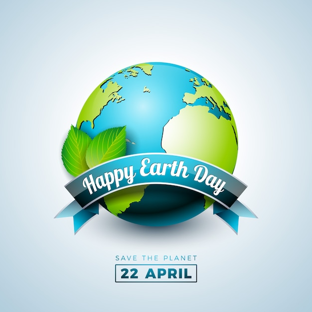 Earth day illustration with planet and green leaf ...