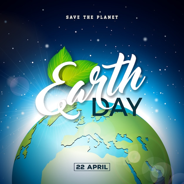 Earth day illustration with planet and green leaf. Premium Vector