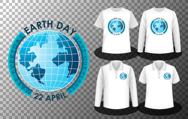Логотип дня земли с набором различных рубашек с экраном с логотипом дня земли на рубашках Бесплатные векторы