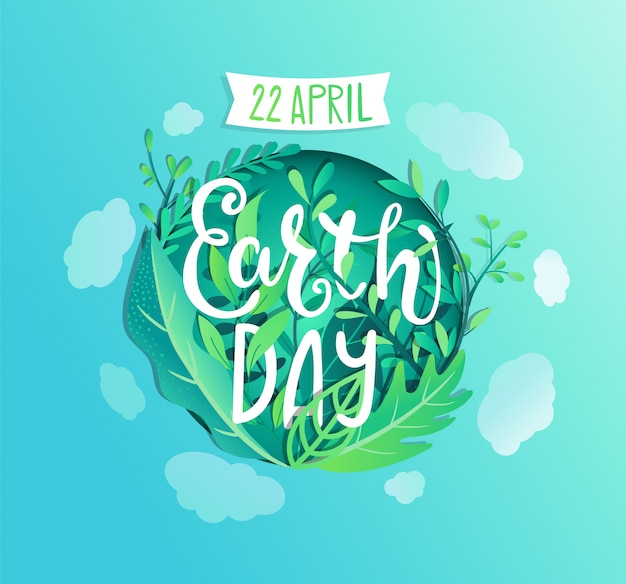 Earth day poster, banner for environment safety celebration. Premium Vector